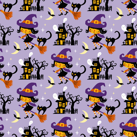 Halloween themed seamless vector pattern with cute witches, black cats, ghosts and haunted houses on purple background. 向量圖像