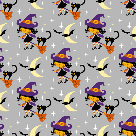 Cute vector Halloween witch and black cat with moon and stars. Seamless vector pattern. Stock fotó - 116475102