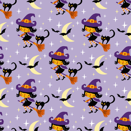 Cute vector Halloween witch and black cat with moon and stars. Seamless vector pattern.
