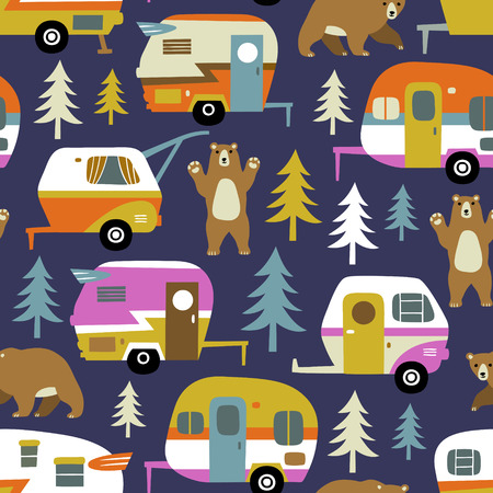 Seamless vector pattern with vintage camping cars, bears and woods on dark blue background.