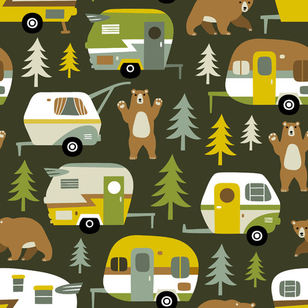 Seamless vector pattern with vintage camping cars, bears and woods on dark green background. 向量圖像