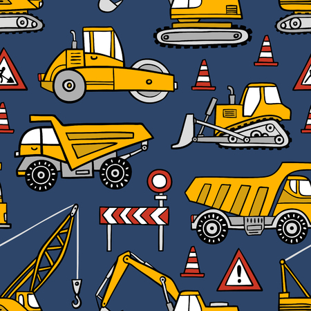 Hand drawn construction cars seamless vector pattern on dark blue background. Иллюстрация
