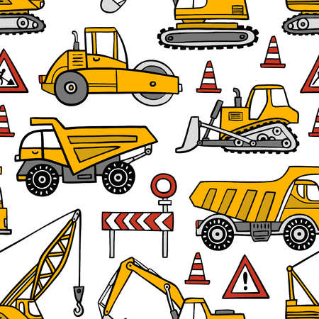Hand drawn construction cars seamless vector pattern on white background. 向量圖像