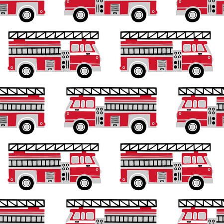 Patron para vector transparente de camiones de bomberos dibujados a mano sobre fondo blanco.