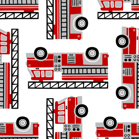 Hand drawn fire trucks seamless vector pattern on white background. 向量圖像