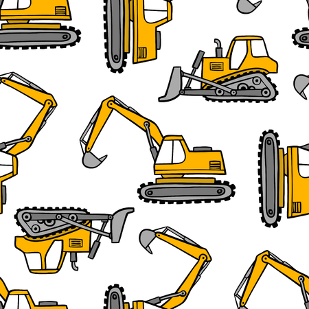 Hand drawn grips and bulldozers seamless vector pattern on white background.