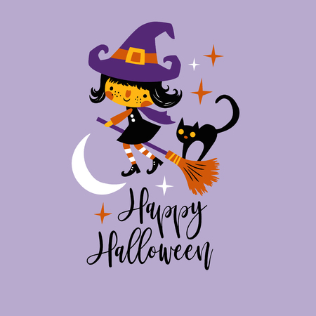 Cute vector Halloween witch and black cat with moon and stars. Perfect for tee shirt  , poster or card design. Иллюстрация