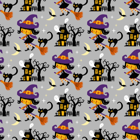 Halloween themed seamless vector pattern with cute witches, black cats, ghosts and haunted houses on grey background. 向量圖像