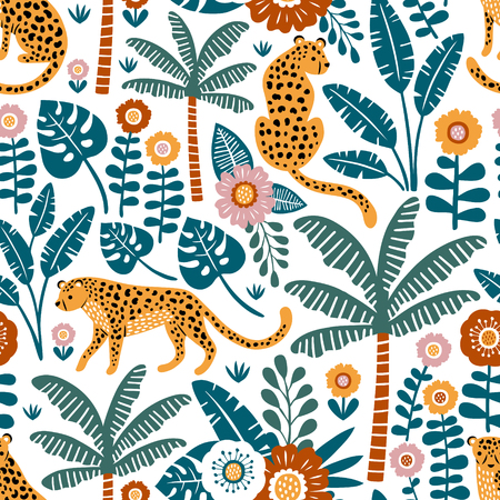 Hand drawn vector seamless pattern with leopards, palm trees and exotic plants on white background.  Perfect for fabric, wallpaper or wrapping paper. Stock fotó - 116475151
