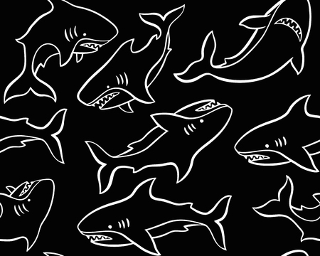 Hand drawn vector seamless pattern with cute sharks on black background.  Perfect for fabric, wallpaper or wrapping paper.