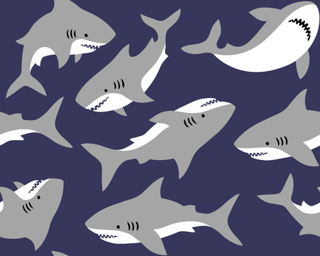 Hand drawn vector seamless pattern with cute sharks on blue background.  Perfect for fabric, wallpaper or wrapping paper. Illustration