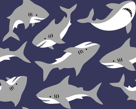 Handgezeichnete Vektor nahtlose Muster mit niedlichen Haien auf blauem Hintergrund. Perfekt für Stoff, Tapete oder Geschenkpapier. Vektorgrafik