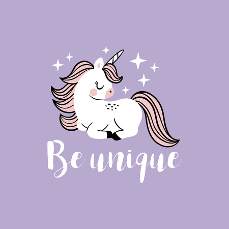 Cute vector baby unicorn with stars and text. Perfect for tee shirt logo, poster or card design.