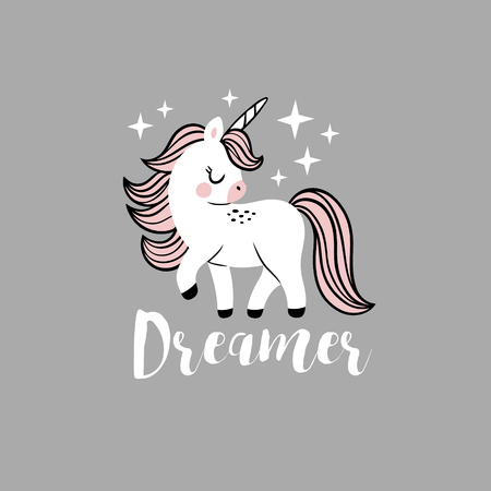 Cute vector baby unicorn with stars and text. Perfect for tee shirt logo, poster or card design. Stock fotó - 116479194