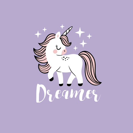Cute vector baby unicorn with stars and text. Perfect for tee shirt , poster or card design. 向量圖像