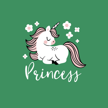 Cute vector baby unicorn with flowers and text. Perfect for tee shirt , poster or card design. Stock fotó - 116479195
