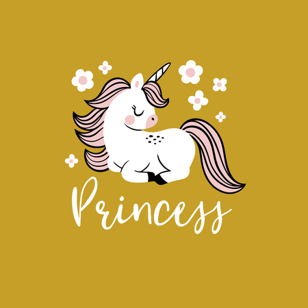 Cute vector baby unicorn with flowers and text. Perfect for tee shirt , poster or card design.