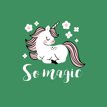 Cute vector baby unicorn with flowers and text. Perfect for tee shirt , poster or card design. Stock fotó - 116479196