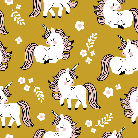 Hand drawn seamless vector pattern with cute baby unicorns and flowers on green background. Perfect for fabric, wrapping paper or nursery decor. Stock fotó - 116479200