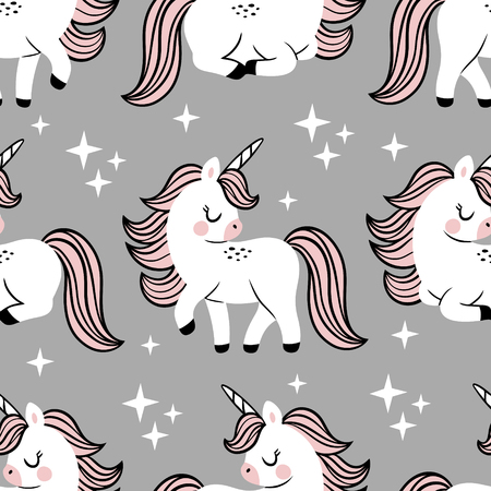 Hand drawn seamless vector pattern with cute baby unicorns and stars on grey background. Perfect for fabric, wrapping paper or nursery decor.