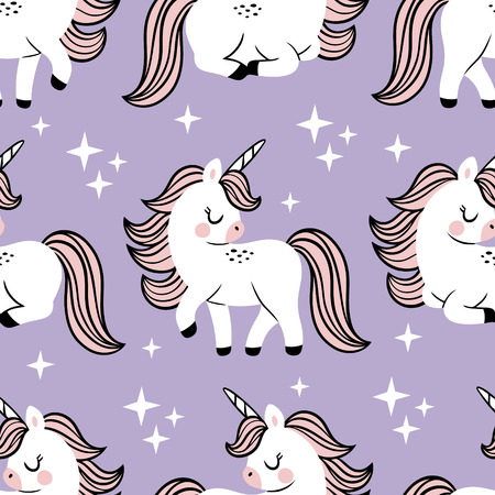 Hand drawn seamless vector pattern with cute baby unicorns and stars on purple background. Perfect for fabric, wrapping paper or nursery decor. Stock fotó - 116479202