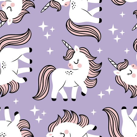 Hand drawn seamless vector pattern with cute baby unicorns and stars on purple background. Perfect for fabric, wrapping paper or nursery decor.