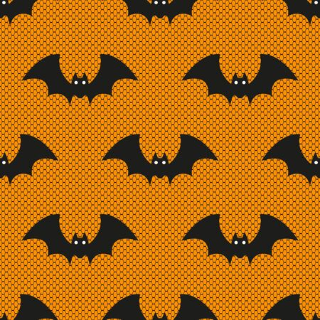 Seamless vector pattern with Halloween lace bats on orange background. Perfect for Halloween fabric, golden wallpaper wrapping paper design