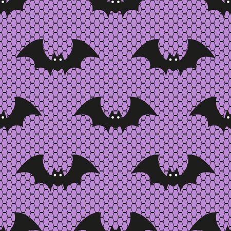 Seamless vector pattern with Halloween lace bats on purple background. Perfect for Halloween fabric, golden wallpaper wrapping paper design