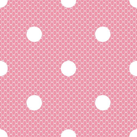 Seamless white vector lace pattern with polka dots on pink background.
