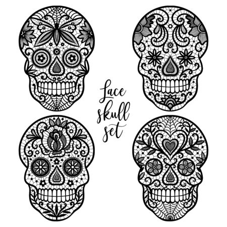 Black lace sugar skull set on white background.