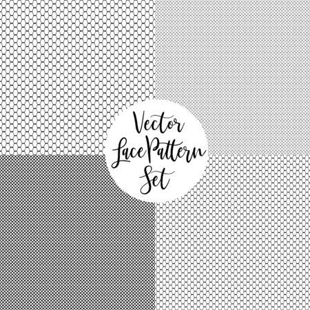 Black vector lace pattern set on white background. Vector Illustration