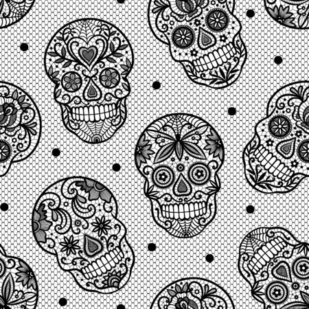 Seamless vector pattern with lace sugar skulls on white background. Perfect for Halloween fabric, wallpaper or wrapping paper design.