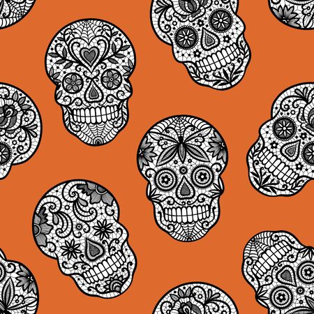 Seamless vector pattern with brown sugar skulls on orange background. Perfect for Halloween fabric, wallpaper or wrapping paper design. Stock fotó - 134202374