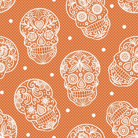 Seamless vector pattern with brown sugar skulls on orange background. Perfect for Halloween fabric, wallpaper or wrapping paper design. 向量圖像