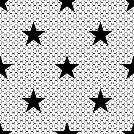 Seamless black vector lace pattern with stars on white background. 向量圖像