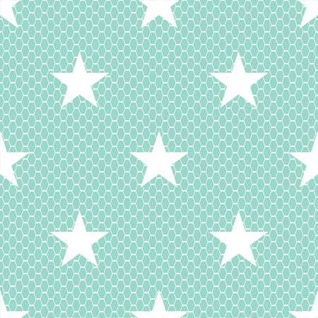 Seamless white vector lace pattern with stars on green background.