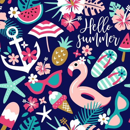 Summer themed seamless pattern vector with tropical flowers and beach accessories 向量圖像