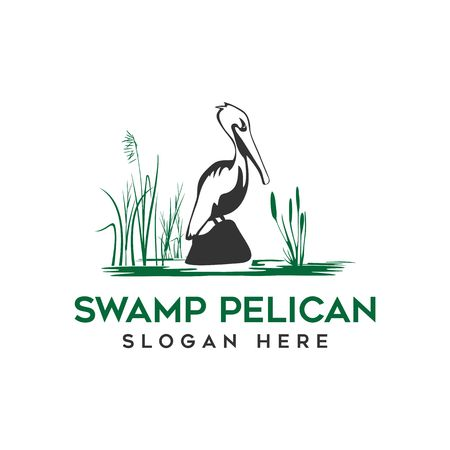 Pelican and swamp logo vector Çizim