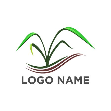 Green nature logo template, grass vector