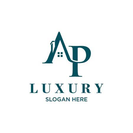 Roof initials AP logo vector