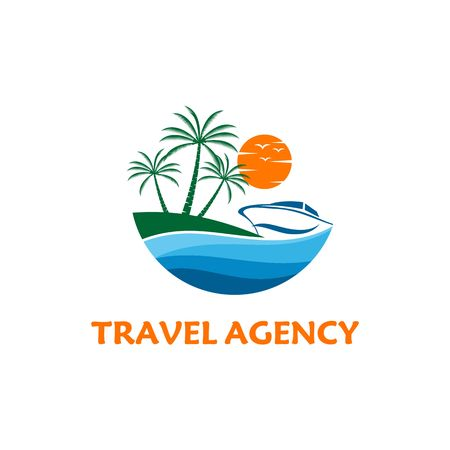 Boat travel, island, beach vector logo Illustration
