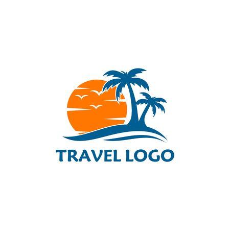 A boat travel, island, beach vector logo Vectores