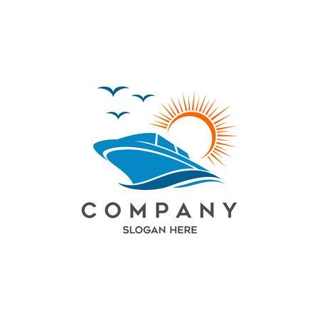 A boat travel, island, beach vector logo Illustration