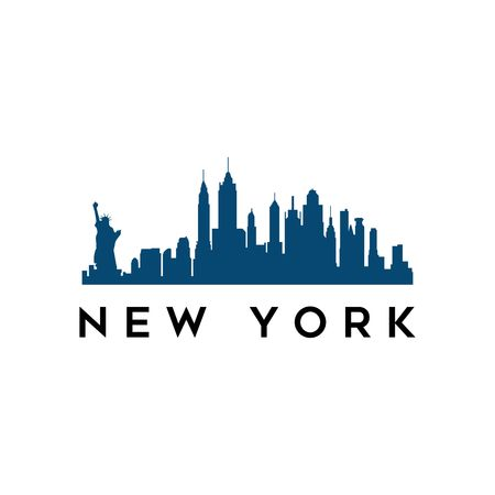 USA New York city modern city landscape skyline panorama vector logo