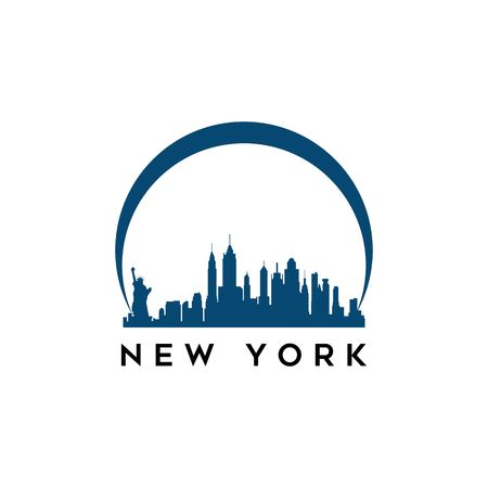 USA New York city modern city landscape skyline panorama vector logo