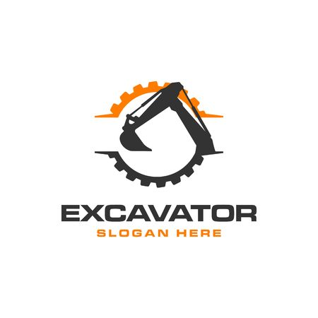 Excavator Vector Logo Template. construction  イラスト・ベクター素材
