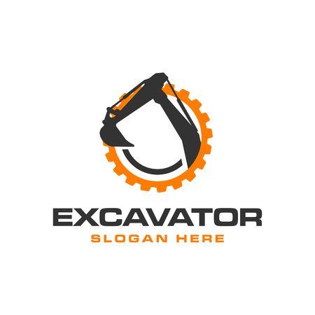 Szablon Logo wektor koparka. budowa