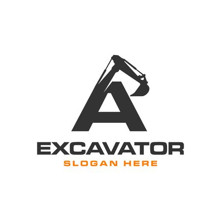 Excavator Vector Logo Template. construction Иллюстрация