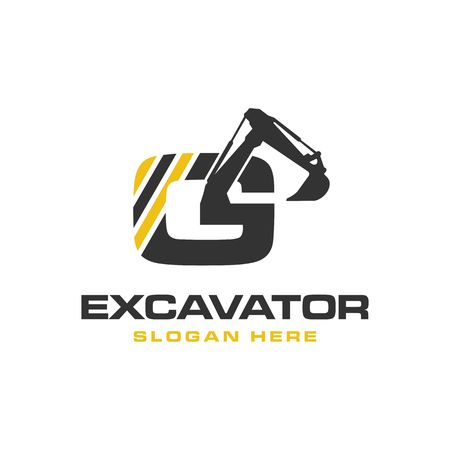 Excavator Vector Logo Template. construction 일러스트