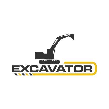Excavator Vector Logo Template. construction  イラスト・ベクター素材